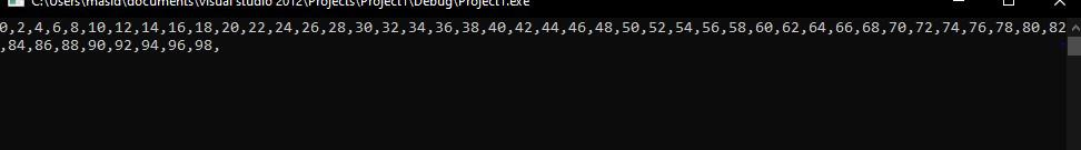 Program to generate a series of first 50 even numbers using while loop