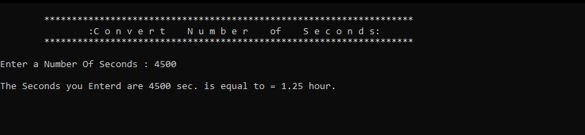Write a program that asks the user to enter a number of seconds.